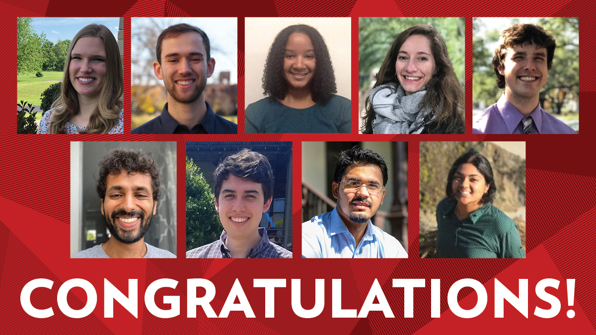 Photos of the faces of the recipients of the Energy Analysis and Policy Student Scholarship in 2020